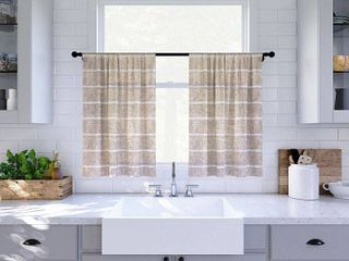 Set of 2  24 x52  Twill Striped Anti Dust Sheer Cafe Curtain White Beige   Clean Window
