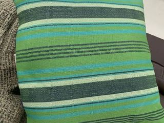 14x14 Blue and green striped pillow