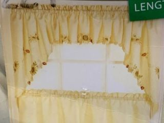 Embroidered Sunflower Kitchen Curtains Separates  Tier  Swag and Valance Options