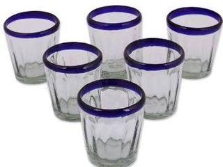 Handmade Artisan Crafted Cobalt Drinking Glasses Set 6  Mexico