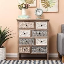 The Curated Nomad Brewa Varied Rustic Carved 8 Drawer Chest