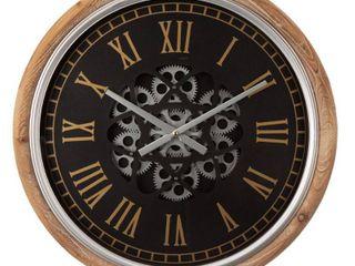 Glitzhome Vintage Industral Firwood Wall Clock