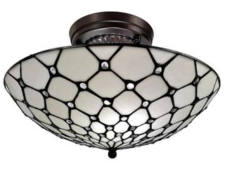 Amora lighting Tiffany Style Ceiling Fixture lamp Jeweled Stained Glass