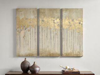 Copper Grove Corydalis Sandy Forest Taupe Gel Coat 3 Panel Canvas