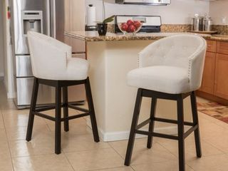 Fabric Swivel Backed Barstools by Christopher Knight Home   Set of 2