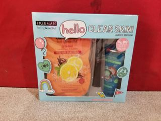 Freeman Hello Clear Skin Mask And Applicator Gift Set Clay And Anti Stress Masks