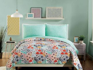 Full Queen 3pc Mayflower Floral Quilt Set Red Green   Makers Collective