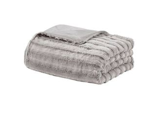 60  x 70  York Faux Fur 18lb Weighted Throw Blanket with Removable Cover Gray