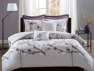 Purple Sakura Cotton Duvet Cover Set  Full Queen  7pc