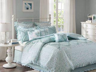 Aqua Gretchen Cotton Percale Comforter Set  King  9pc