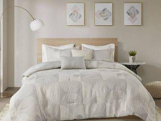 King California King 5pc Sawyer Cotton Jacquard Comforter Set Gray