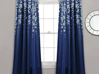 Set of 2  84 x52  Weeping Flower Room Darkening Window Curtain Panels Navy   lush DAccor