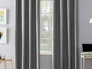 2 95 x50  Duran Thermal Insulated Total Blackout Grommet Top Curtain Panel Gray   Sun Zero