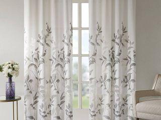 2 84 x50  Rosalie Burnout Printed Sheer Window Panel Gray