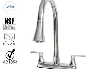 Chrome Clear  Wasserman 22167043   Kitchen Sink Faucet Double Handle Pull Down Spray in Chrome
