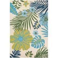 Miami Tropics Ivory Blue Indoor  Outdoor Area Rug  Retail 106 49