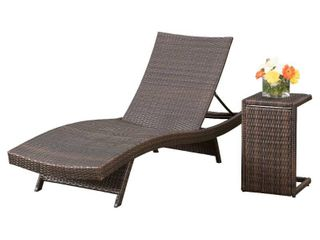 Chaminade Outdoor 2 piece Wicker Adjustable Chaise lounge Set by Christopher Knight Home  Brown  Retail 348 49