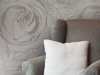 Wallpaper bronze Gold Metallic Textured large flowers floral Roses