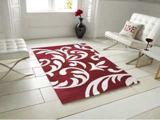 Knoxville F7510 Red White Area Rug 4 ft  by 5 ft    4  x 5