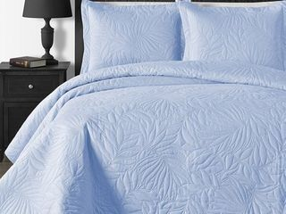Blue   King   Cal King King  Comfy Bedding Foliage Thermal Pressing 3 piece Oversized Coverlet Set  Retail 77 48