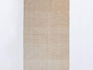 Handloom Beige Cotton Chenille Rug with Tassels  Retail 82 49
