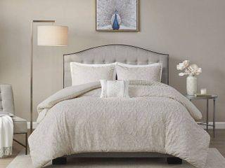 Full   Queen  Madison Park lydia light Taupe Cotton Comforter Set  Retail 132 99