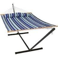 Quilted double fabric hammock with spreader bar in pillow Catalina beach