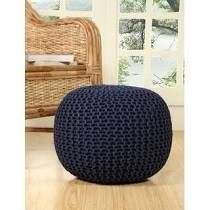 lychee Knitted Cotton Round Pouf Ottoman Navy Blue
