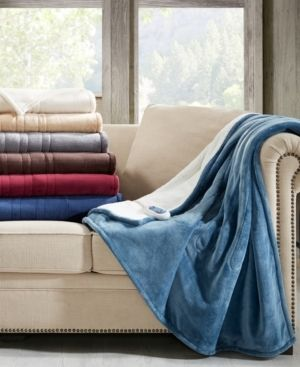 Sapphire Blue  Woolrich Heated Plush to Berber Throw