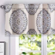 Grey  Porch   Den Alfreda Medallion lined Window Valance