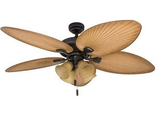 Honeywell Palm Valley 52  Bronze Tropical lED Ceiling Fan with Branch lighting and Palm leaf Blades   Retail 147 49