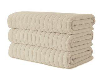 Classic Turkish Towel Cotton Ribbed Bath Sheet Towel Set of 3   40x65   Almond Biege