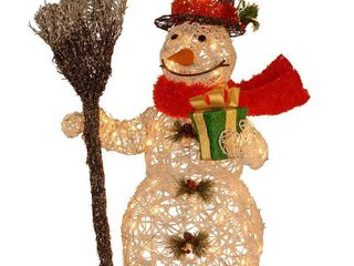 White  Red and Green  27 inch White Ratton Snowman Holding Gift and Broom with 50 Clear Outdoor lights  Retail 79 48