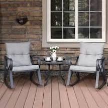COSIEST Outdoor 3 Piece Bistro Set Rocking Chairs w Warm Gray Cushions  Retail 288 49