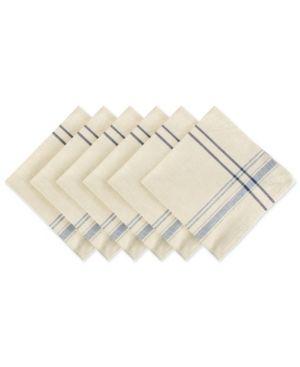 Nautical Blue  Design Imports Black French Stripe Napkin Set  Set of 6