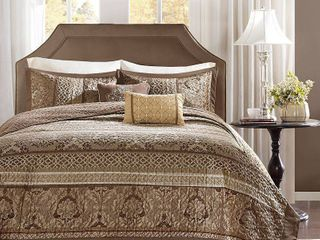 Madison Park Venetian Brown  Gold 5 Pieces Oversized Jacquard Bedspread Set  Retail 139 97