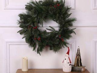 24in Berries and Pinecones Green Artificial Pine Wreath   24  Diameter