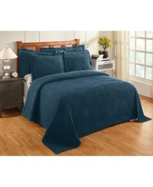 Teal   Queen  Better Trends Julian Collection in Solid Stripes Design 100  Cotton Tufted Chenille