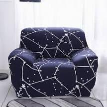 Null  Enova Home Dark Blue Elegant Polyester and Spandex Stretch Washable Box Cushion Armchair Slipcover