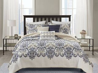 Full   Queen  Madison Park Cardiff 6 piece Quilted Coverlet Set  Retail 79 48
