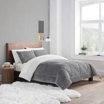 Charcoal   Full   Queen  Porch   Den Ellis Micromink  Sherpa 3 piece Comforter Set