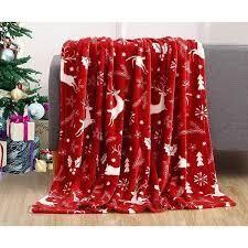 Burgundy Reindeer  Carbon loft Salman Velvet light Weight Printed Holiday Throw