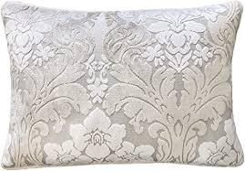 Grey  Rodeo Home Marsel Cut Velvet Floral Damask Throw Pillow