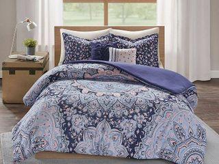 Full   Queen  Skye Blue Boho Duvet Cover Set by Intelligent Design