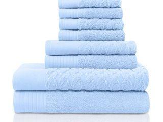 Pacific Blue  Miranda Haus 100 Turkish Cotton Cordage Patterned 8 Piece Towel Set