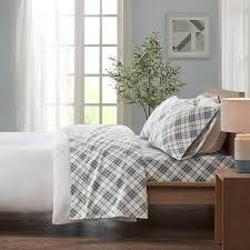 King   Blue Plaid  Taylor   Olive Heron Flannel Cotton Bed Sheet Set