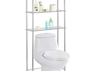 Home Basics 3 Tier Over The Toilet Glass Space Saver  Chrome  25 9x10 6x 58 2 Inches