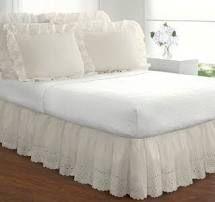 Ivory   Queen  Ruffled lauren Eyelet 18 inch Bedskirt