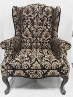 Wingback Chair with wood legs  black  tan  copper 26 x41 x32