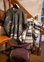 Poncho Assortment  Including Woven Saddle Blanket Poncho  Wool Reversible Horse Poncho  And Traditional Peruvian Poncho